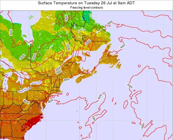 New-Brunswick Surface Temperature on Monday 27 May at 9am ADT map