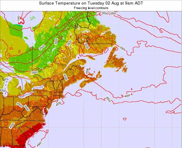 Nova-Scotia Surface Temperature on Thursday 23 May at 9am ADT