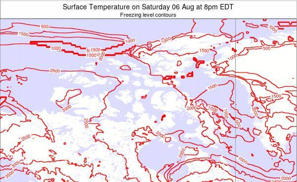 Nunavut Surface Temperature on Tuesday 23 Apr at 2pm EDT map