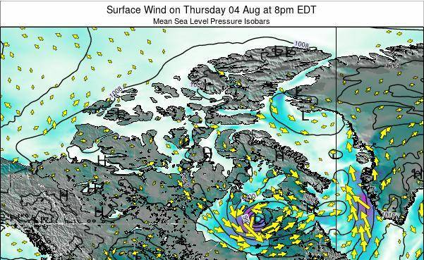 Nunavut Surface Wind on Thursday 23 May at 8am EDT map