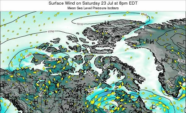 Nunavut Surface Wind on Wednesday 24 Apr at 2am EDT map