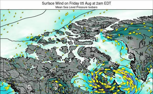Nunavut Surface Wind on Thursday 23 May at 2pm EDT map