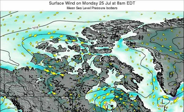 Nunavut Surface Wind on Wednesday 24 Apr at 2pm EDT map