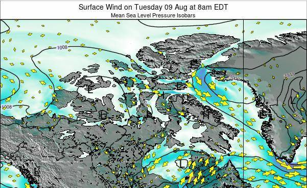 Nunavut Surface Wind on Tuesday 23 Apr at 2am EDT map