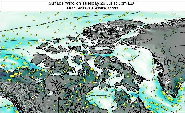 Nunavut Surface Wind on Saturday 27 Apr at 2am EDT map