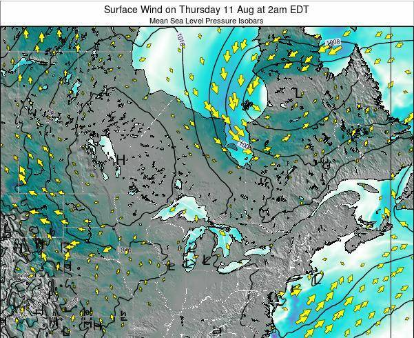 Ontario Surface Wind on Monday 09 Dec at 7am EST