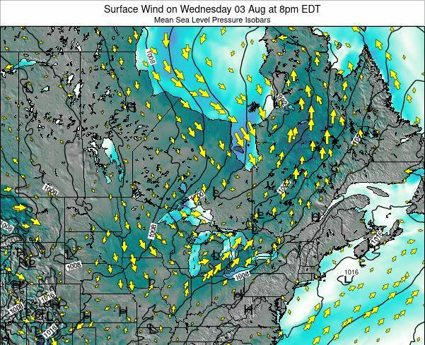 Ontario Surface Wind on Thursday 24 Apr at 2pm EDT