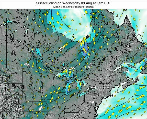 Ontario Surface Wind on Friday 14 Mar at 2am EDT