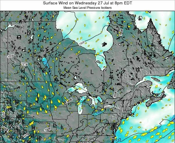 Ontario Surface Wind on Sunday 27 Apr at 8am EDT