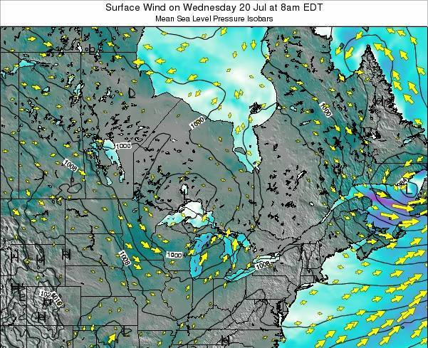 Ontario Surface Wind on Monday 21 Apr at 2am EDT