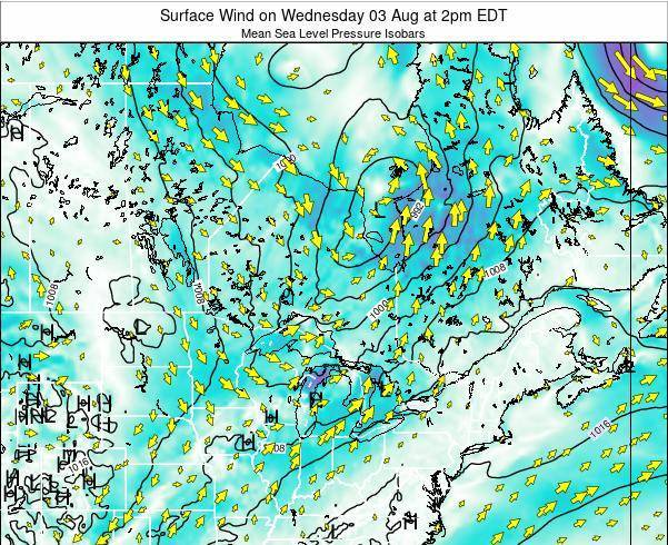 Ontario Surface Wind on Tuesday 22 Jul at 8pm EDT