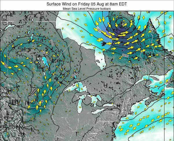 Ontario Surface Wind on Tuesday 11 Mar at 8pm EDT
