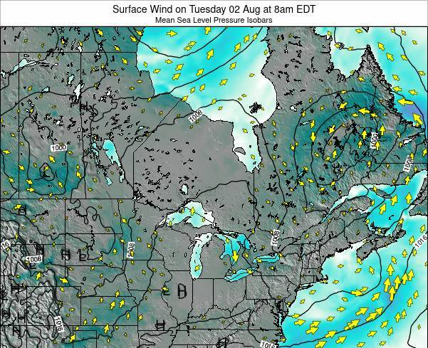 Ontario Surface Wind on Wednesday 19 Jun at 8am EDT