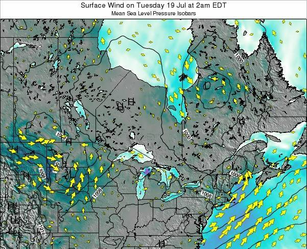 Ontario Surface Wind on Thursday 24 Apr at 8am EDT