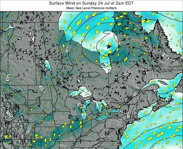 Ontario Surface Wind on Sunday 08 Dec at 7pm EST