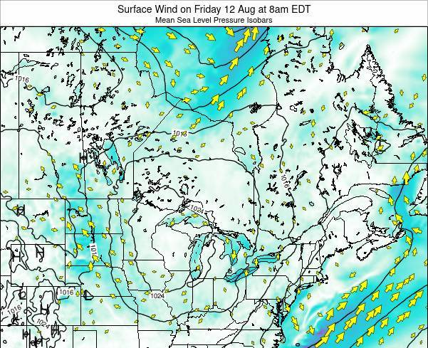 Ontario Surface Wind on Saturday 25 May at 8pm EDT