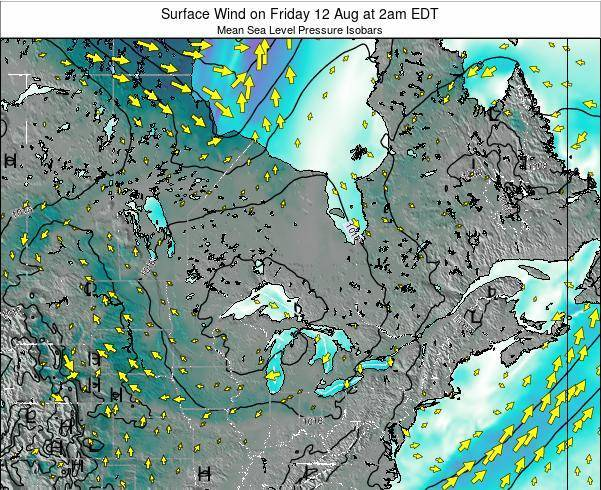 Ontario Surface Wind on Tuesday 28 May at 2pm EDT