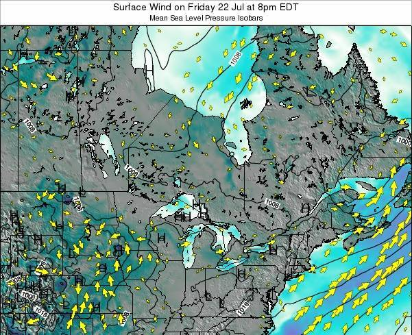 Ontario Surface Wind on Wednesday 23 Apr at 8am EDT