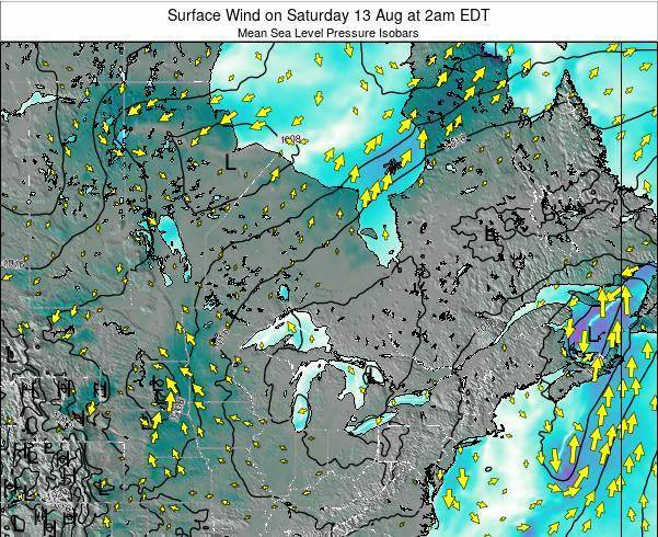 Ontario Surface Wind on Tuesday 25 Jun at 8am EDT
