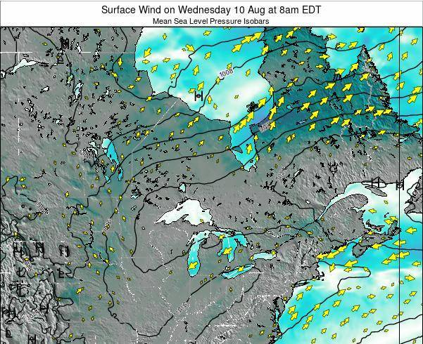 Ontario Surface Wind on Tuesday 22 Apr at 2pm EDT