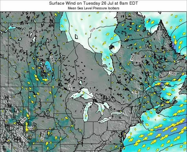 Ontario Surface Wind on Saturday 14 Dec at 7am EST