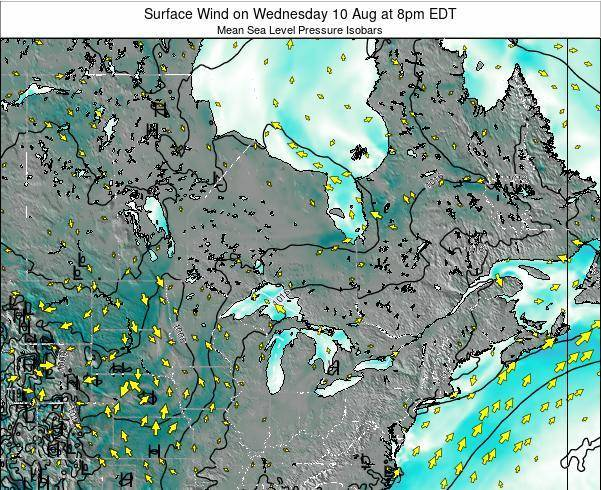 Ontario Surface Wind on Friday 14 Mar at 1am EST