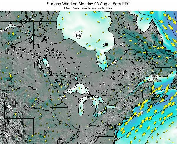 Ontario Surface Wind on Thursday 01 May at 2am EDT