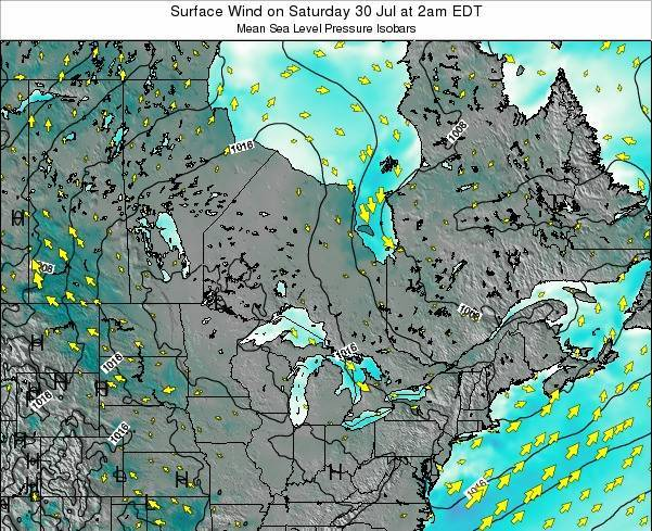 Ontario Surface Wind on Thursday 07 Aug at 2am EDT