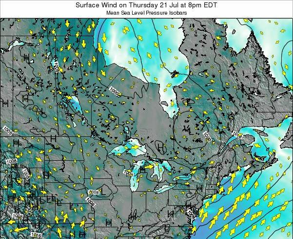 Ontario Surface Wind on Wednesday 30 May at 2am EDT map