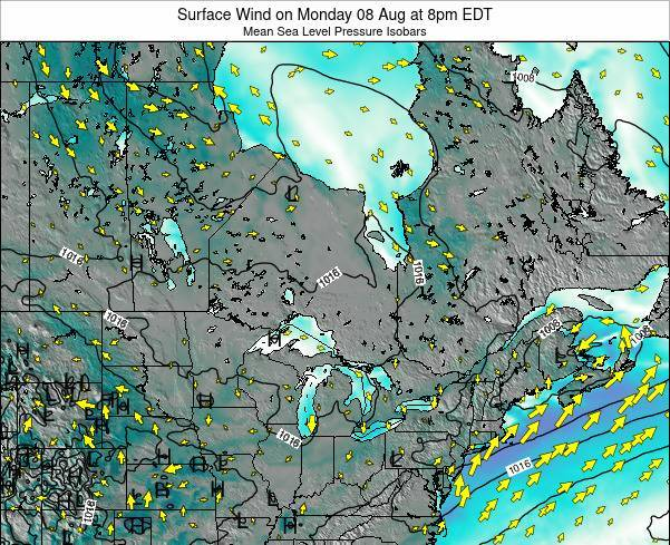 Ontario Surface Wind on Wednesday 23 Apr at 2am EDT