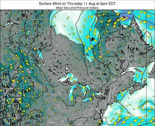 Ontario Surface Wind on Monday 09 Mar at 7pm EST