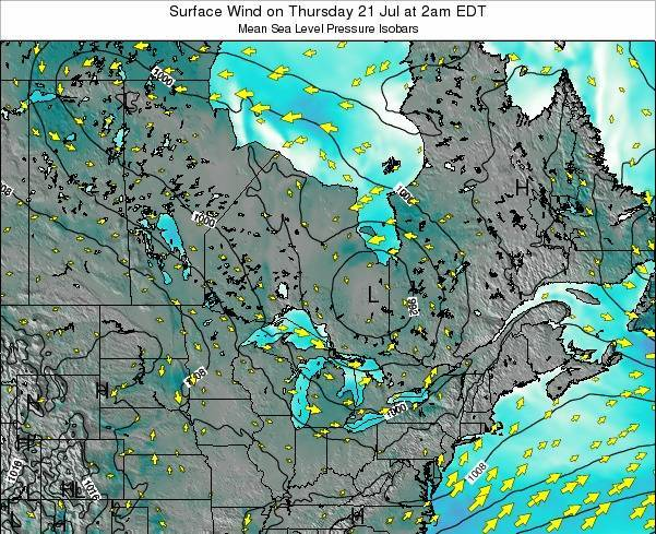 Ontario Surface Wind on Saturday 25 May at 2am EDT