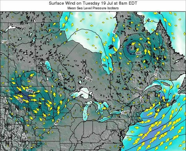 Ontario Surface Wind on Wednesday 22 May at 2pm EDT