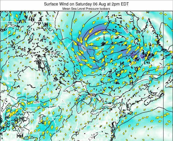 Ontario Surface Wind on Wednesday 23 Jul at 2am EDT