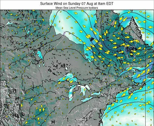Ontario Surface Wind on Thursday 23 May at 2pm EDT