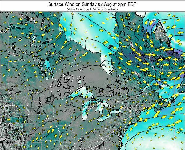 Ontario Surface Wind on Wednesday 12 Mar at 8pm EDT