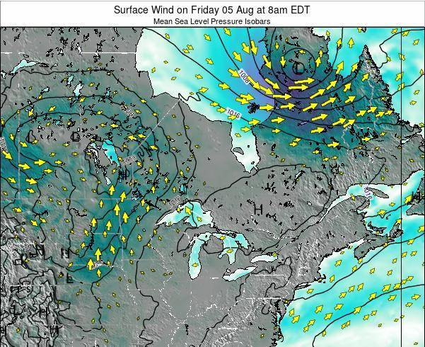 Ontario Surface Wind on Monday 06 Jul at 8am EDT