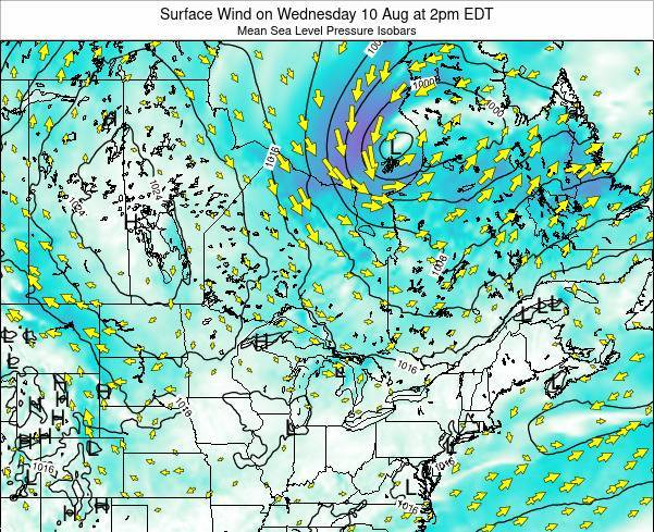 Ontario Surface Wind on Friday 25 Jul at 2pm EDT