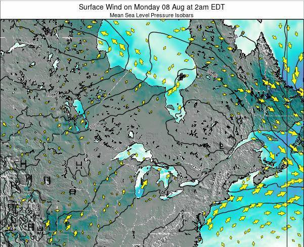 Ontario Surface Wind on Monday 27 Jun at 2pm EDT