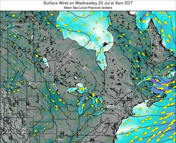 Ontario Surface Wind on Wednesday 22 May at 8am EDT