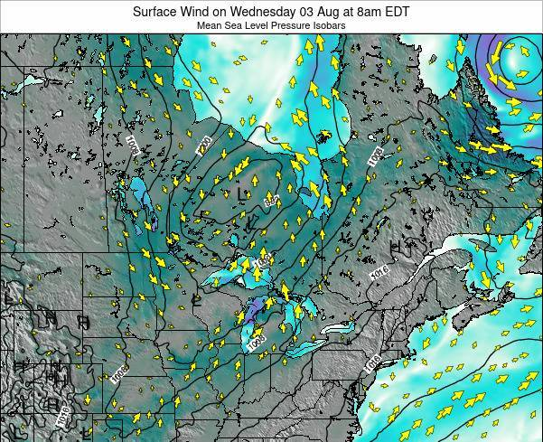 Ontario Surface Wind on Wednesday 11 Dec at 7pm EST