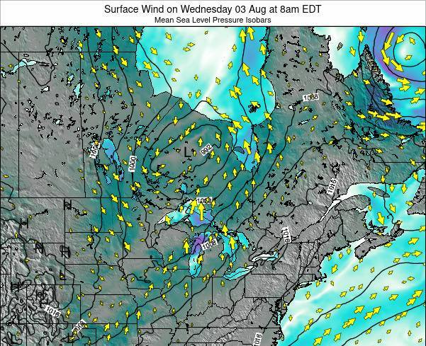 Ontario Surface Wind on Thursday 20 Jun at 2pm EDT