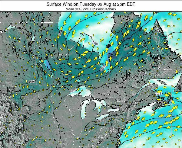 Ontario Surface Wind on Monday 27 May at 8am EDT