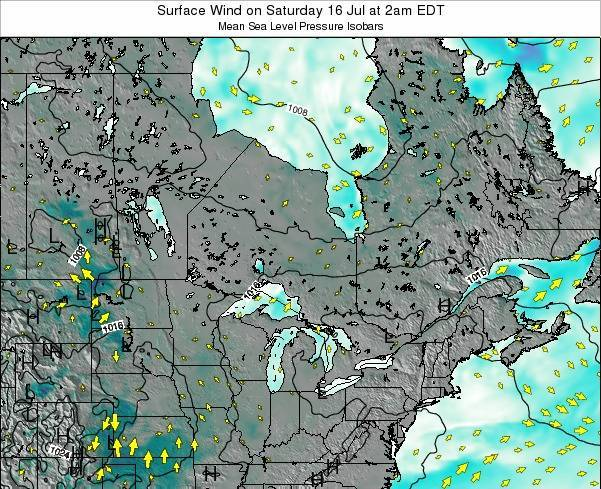 Ontario Surface Wind on Saturday 07 Dec at 1pm EST