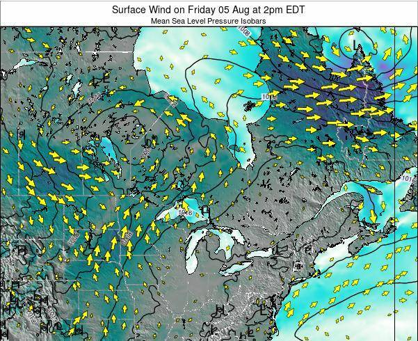Ontario Surface Wind on Wednesday 23 Apr at 8pm EDT