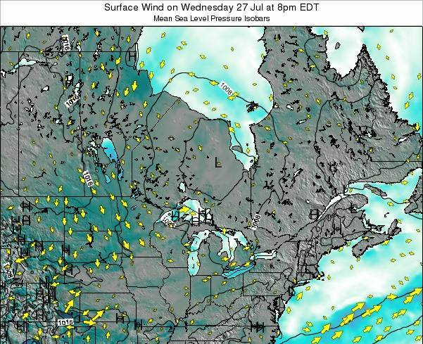 Ontario Surface Wind on Thursday 31 Jul at 2am EDT