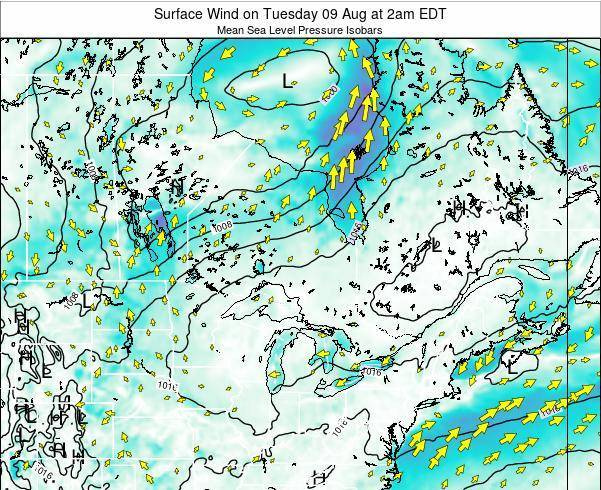Ontario Surface Wind on Wednesday 22 May at 2am EDT