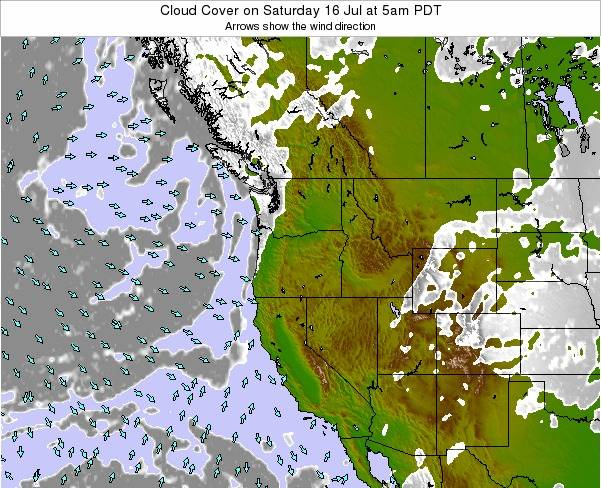 Oregon Cloud Cover on Sunday 19 May at 11pm PDT