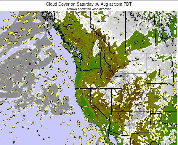 Oregon Cloud Cover on Monday 20 May at 11am PDT