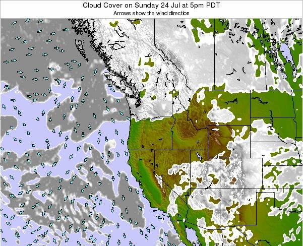 Oregon Cloud Cover on Monday 20 May at 11pm PDT